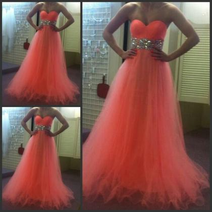 Orange Red Prom Dress , Shiny Crystal Waist Prom Dress , Sweetheart Floor Length Long Prom Dress , Tulle Prom Dress , Free Custom Made Prom Dress