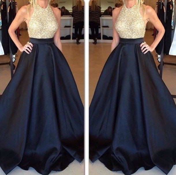 Navy Blue Skirt Prom Dress, All Crystal Top Prom Dress, Two Pieces ...