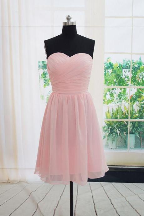 Bridesmaid Dress , Simple Dress , Prom Dress , Lovely Pink Dress , Free Custom Made Dress