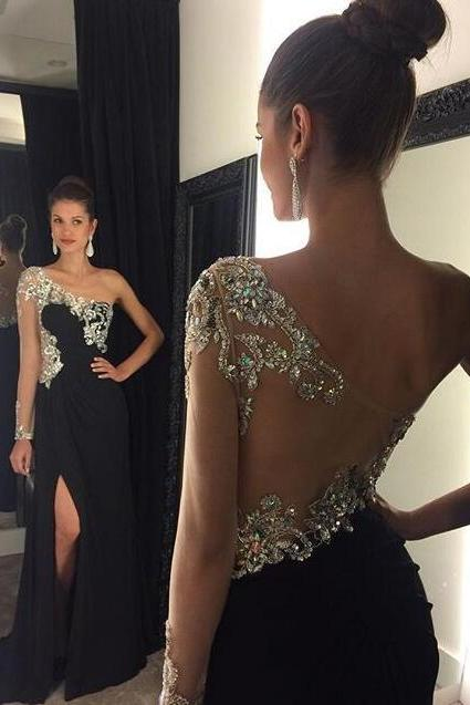 Black Prom Dress , Long Sleeves Prom Dress , Sexy See Through Back Prom Dress , Front Split Prom Dress , Shiny Dress , Free Custom Made Dress