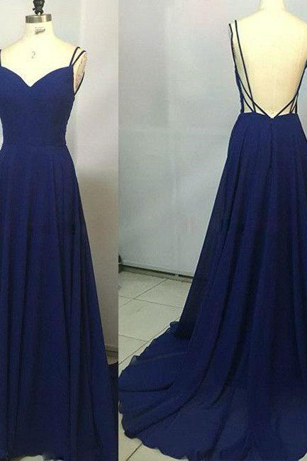 V-Neck Spaghetti Strap Chiffon A-line Long Prom Dress, Evening Dress Featuring Open Back