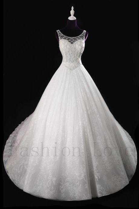 Real Photo Ivory Wedding Dress Elegant Lace inside Long Train Crystal Beading