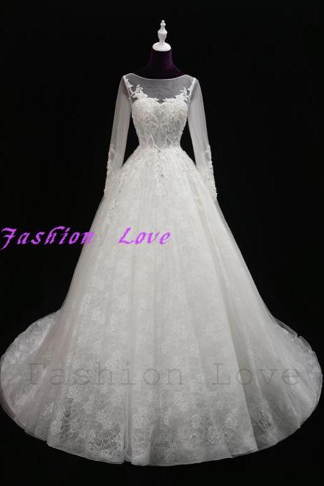 Full Sleeves New Wedding Dress Elegant Lace Lining Bridal Gown Long Train Shiny Beading Appliques CH008
