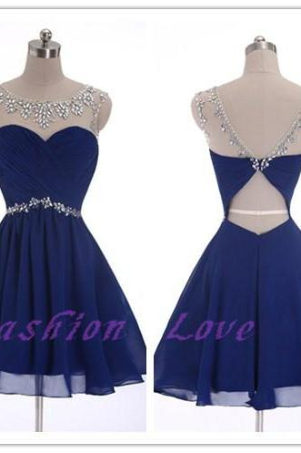 Royal Blue Chiffon Prom Dress, Real Photos Homecoming Party Dress, Custom Made A-Line Shiny Beading Prom Gown