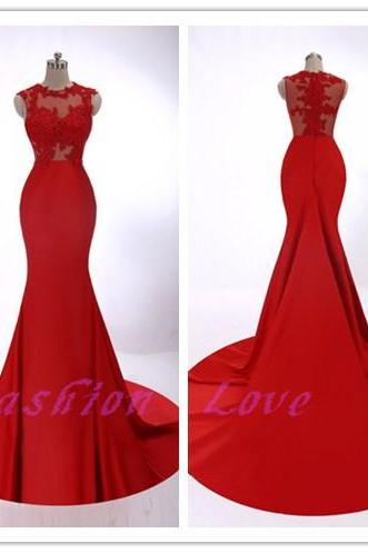 Celebration For New Year Hot Red Dress, Amazing Red Lace Appliques New Year Party Dress, Floor Length Sweep Train Formal Evening Dress, Fashion Party Dress