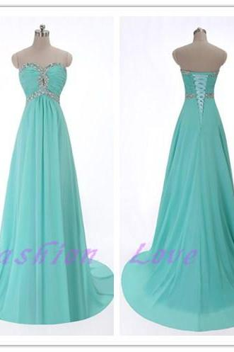 Sweetheart Long Chiffon Party Dress, Custom Made Beading Party Dress, Real Photos Prom Dress, Floor Length Chiffon Evening Dress