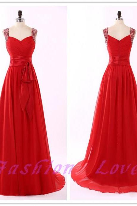 Maxi Dress, Women Red Dress,New Arrival Beading Party Dress, Real Photos Formal Eveninig Dress with Bow , Custom Made Prom Dress