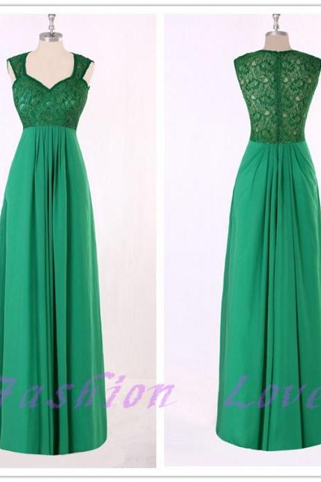 Green Lace Up Prom Dress, Zipper Back Floor Length Chiffon Party Dress, Real Photos Custom Made Evening Dress,New Arrival Green Maxi Dress