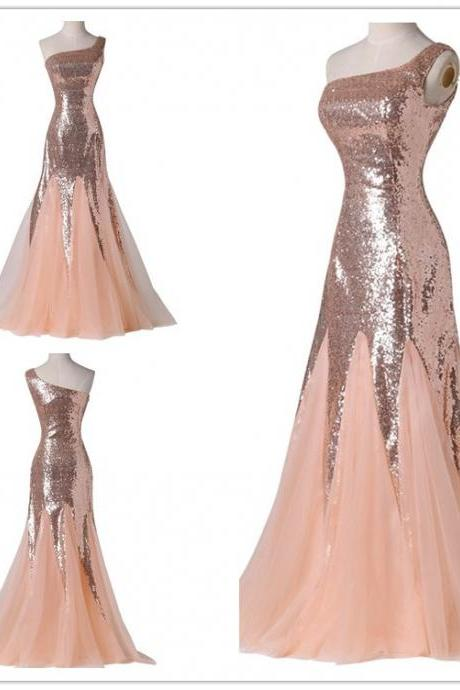 Sequin Long Dress , 2016 New Hot Sale One Shoulder Sequin Dress , Prom Dress , Evening Party Dress