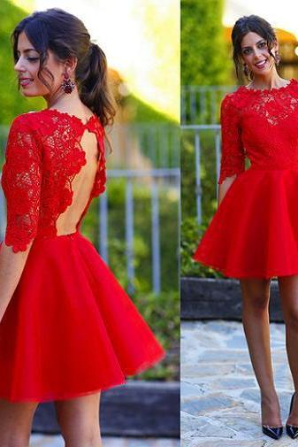 Red Prom Dress , Lace Prom Dress, Above-Knee Mini Prom Dress , Sexy Show Back Prom Dress, Free Custom Made Prom Dress , Red Homecoming Party Dress