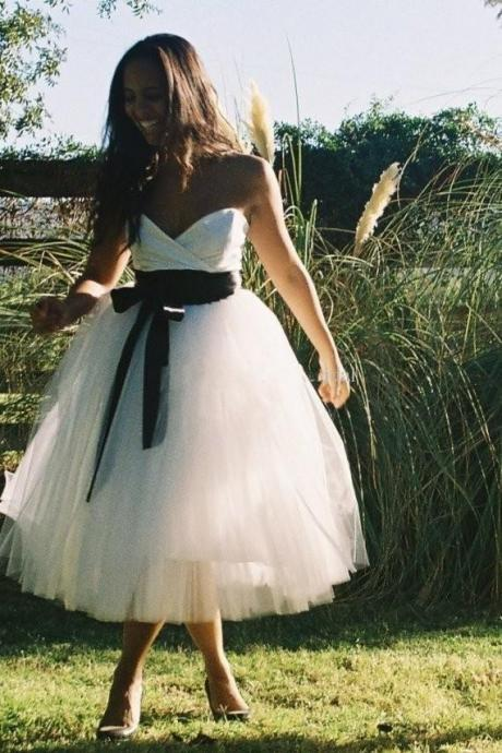 White Prom Dress, White Tulle Ball Gowns, Tulle Prom Dress, Tea Length Prom Dress, Black Bow Prom Dress, Free Custom Made Prom Dress