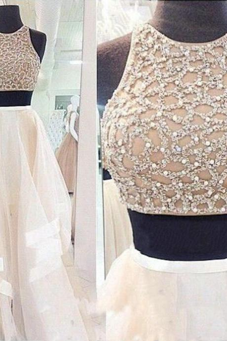 Light Champagne Prom Dress , Two Pieces Champagne Tulle Prom Dress , Heavy Crystal Top Prom Dress , Floor Length Ruffles Tulle Skirt Party Dress , Free Custom Made Prom Dress