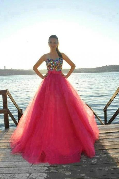 Colorful Crystals Prom Dress , 2016 Sweetheart A-Line Prom Dress , Watermelon Tulle Prom Dress , Elegant Bow Free Custom Made Prom Dress