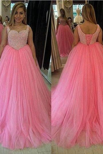 Lovely Pink Tulle Prom Dress, Sweetheart Tank Prom Dress, All Pearls Top Prom Dress, Free Custom Made Prom Dress, Fashion Graduation Dress