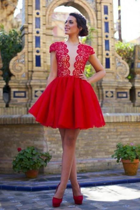 Red Lace Prom Dress, Cap Sleeves Party Dress, Above Knee Length Mini Red Homecoming Dress, Sexy Sheer Back Red Prom Dress