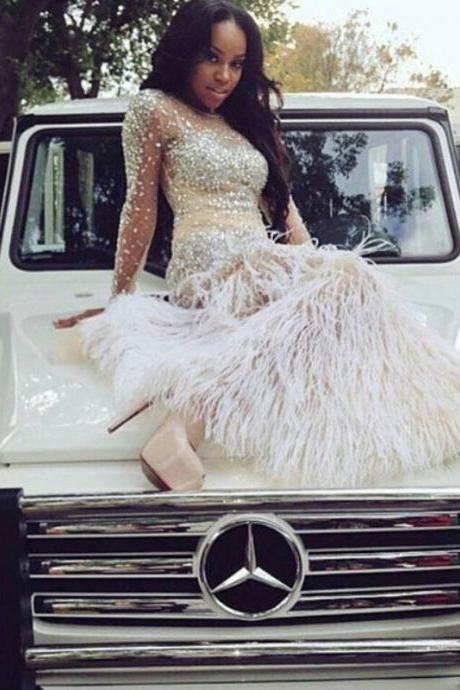 Feather Skirt Prom Dress, Sexy Front Split Prom Dress, All Crystal Beading Prom Dress, Long Sleeves Prom Dress, Fashion Party Dress
