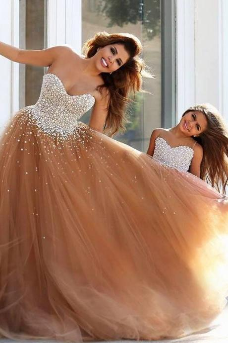 Elegant Prom Dress, Sweetheart Luxury Pearls Top Prom Dress, Coffee Tulle Skirt Prom Dress, A-Line Prom Dress, Free Custom Made Prom Dress