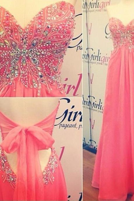 Pink Chiffon Lovely Prom Dress, Sweetheart Beading Top Prom Dress, Sexy Lace Up Back Party Dress, Shiny Crystal Long Prom Dress