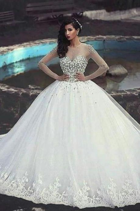 Full Crystal Pearls Beading Wedding Dress , Sweetheart Ball Gown , 85 inches Long Train Wedding Dress , Heavy Beading Edge Wedding Veils , Free Custom Made Dress