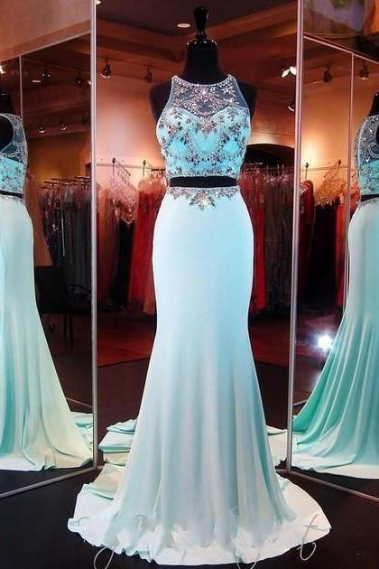 Sky Blue Chiffon Prom Dress, Shiny Beading Top Prom Dress , Fashion Two Pieces Prom Dress , Zipper Back Floor Length Sexy Mermaid Prom Dress , Free Custom Made Prom Dress
