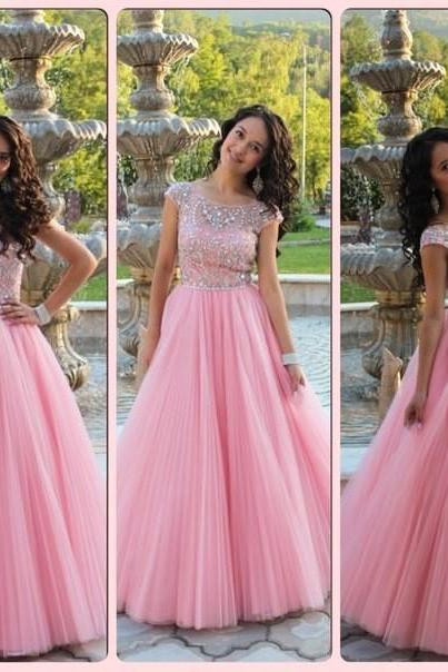 Cap Sleeves Prom Dress, Princess Style Pink Prom Dress , Shiny Beading Top Prom Dress , A-Line Floor Length Long Prom Dress , Free Custom Made Prom Dress