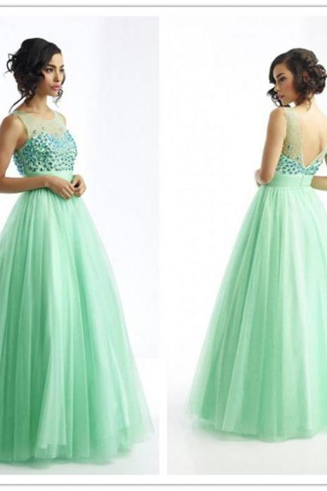 Mint Green Prom Dress , Shiny Prom Dress , Sexy Deep V Back Prom Dress , A-Line Floor Length Long Prom Dress , Free Custom Made Prom Dress