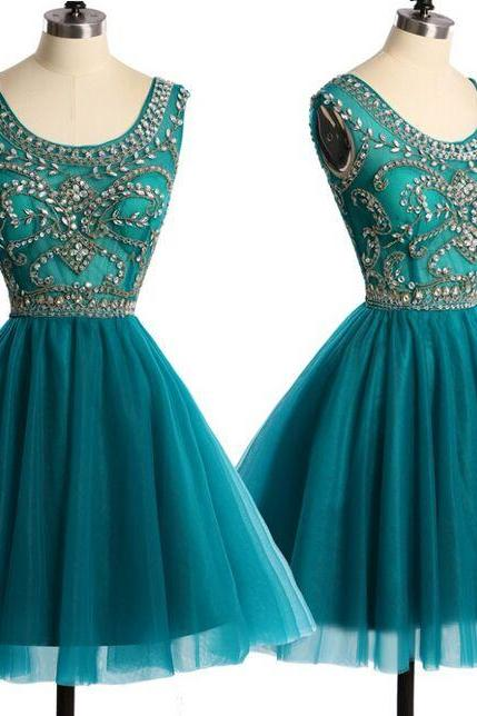 Real Pictures Scoop Luxury Rhinestone Crystals Emerald Green Homecoming Dresses , Short Prom Dress 2016 Special Occasion Dresses , Free Custom Made Dress
