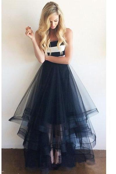 Navy Blue Prom Dresses , Strapless Floor Length Long Prom Dresses , Ruffles Skirt Prom Dresses , Strip Top Fashion Prom Dresses , Free Custom Made Prom Dresses