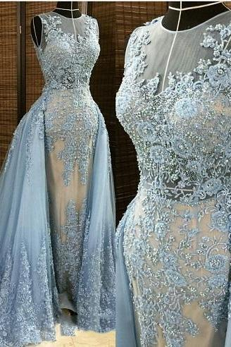 2016 New Detachable Train Wedding Dress, Embroidery Prom Dress, Light Blue Appliques Mermaid Wedding Gowns, Amazing Bridal Dresses, Free Custom Made Prom Dress