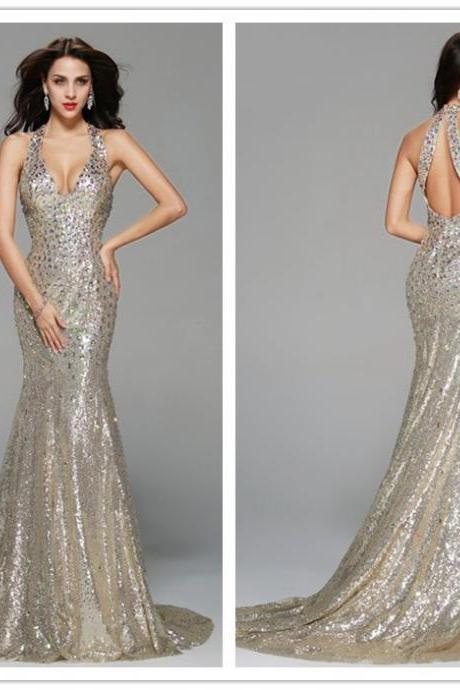 Silver Sequin Prom Dress , Sexy Prom Dresses, Shinny Beading Prom Dresses, Fashion Party Dresses, Free Custom Made Prom Dresses