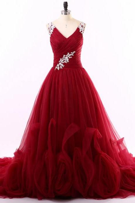 Red Prom Dresses , Unique Design Prom Dresses, V-Neck Tank Prom Dresses ,Free Custom Made Prom Dresses, Elegant Appliques Beautiful Dresses