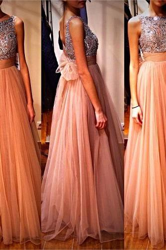 Shiny Beading Prom Dresses , O-Neck Champagne Prom Dresses , Sexy V-Back Prom Dresses , Elegant Bow on Back Prom Dresses , Floor Length Long Prom Dresses , Free Custom Made Prom Dresses