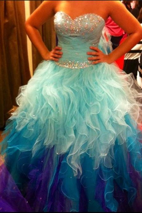 Ruffles Puffy Blue Prom Dresses , Shiny Wedding Dresses , Beading Dresses , Sweetheart Long Bridal Gowns , Free Custom Made Wedding Dresses