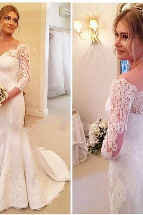 Bridal Dresses , Long Sleeves Bridal Dresses , White Lace Bridal Dresses , Mermaid Bridal Gowns , Sweep Train Bridal Dresses , Free Custom Made Bridal Gowns