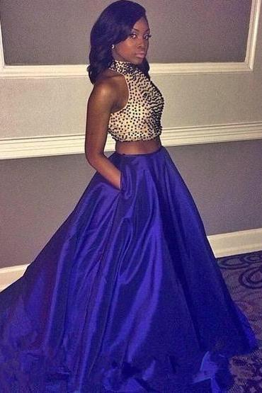 Prom Dress , Prom Dresses , Two Pieces Prom Dress , Long Prom Dress , Beading Top Prom Dress , Blue Prom Dress , Custom Made Prom Dress