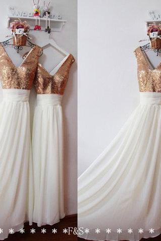 White Dress , Gold Sequin Top Prom Dress , Deep V-neck Prom Dress , Free Custom Made Prom Dress , Long Dress