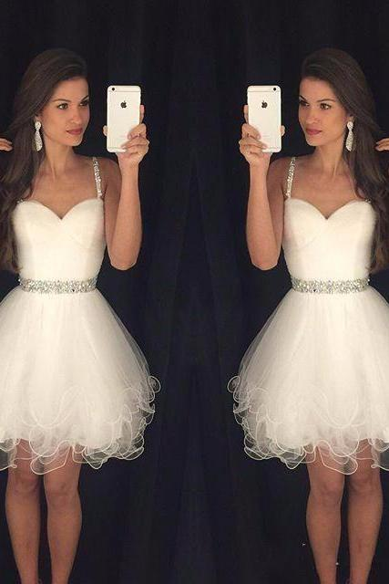 White Dress , Short White Prom Dress , Cute Prom Dress , Shiny Beading Prom Dress , White Bubble Dress , Free Custom Made Dress