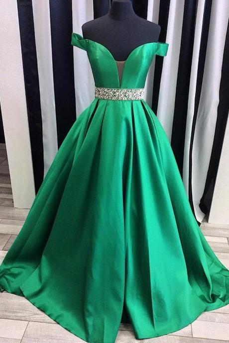 Green Satin Off-The-Shoulder Plunge V Floor Length Prom Gown Featuring Beaded Embellished Belt