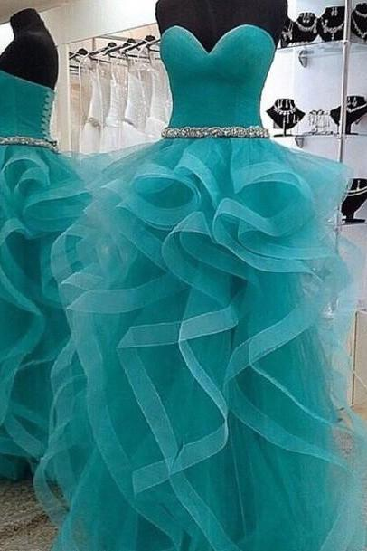 Strapless Sweetheart Ruffled A-line Long Prom Dress, Evening Dress, Free Custom Made