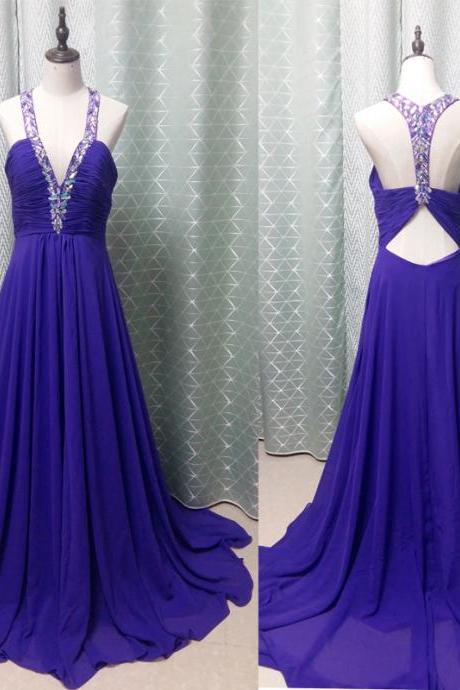 Royal Blue Dress , Blue Prom Dress , Sexy Back Prom Dress , Long Prom Dress , Deep V-neck Prom Dress , Free Custom Made Dress