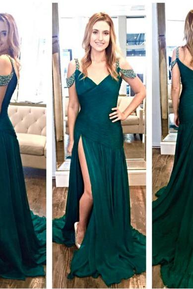 Dark Green Prom Dress , Stunning Prom Dress , Elegant Green Dress , Mermaid Dark Green Dress , Free Custom Made Prom Dress