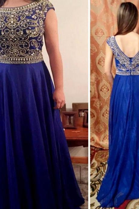 Cap Sleeves Prom Dress , Royal Blue Prom Dress , Shiny Crystal Top Prom Dress , A-line Long Prom Dress , Sexy Back Prom Dress , Free Custom Made Prom Dress