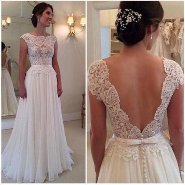 Lace Top Wedding Dress Cap Sleeves Sexy Big V Back Ruched Chiffon Ski On Luulla