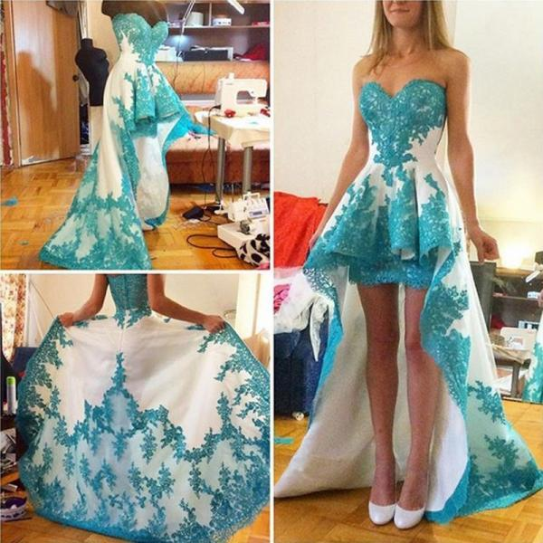 Fashion Blue Lace Appliques Prom Dress , Asymmetrical Prom Dress , Sweetheart Sweep Train Prom Dress , Fashion Party Dress , Free Custom Made Prom Dress