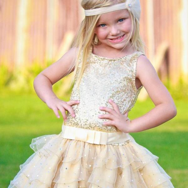 Flower Girl Dresses For Wedding , Gold Sequin Communion Dresses , Girls Pageant Dresses , First Communion Dresses for Girls 2016