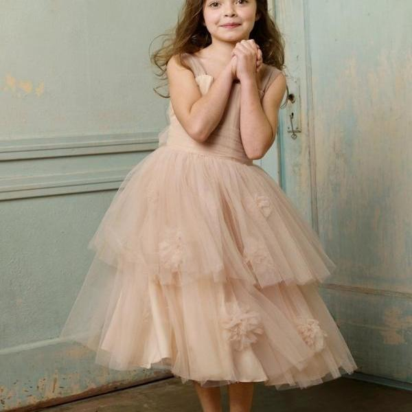 Flower Girl Dresses For Wedding , Princess Girl Dresses , Soft Tulle Communion Dresses , Girls Pageant Dresses , First Communion Dresses for Girls 2016