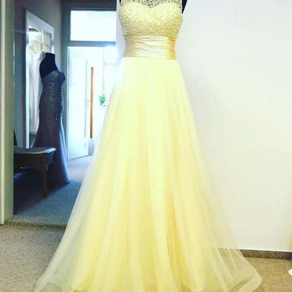 Yellow Dress , Bright Yellow Dress , Pearls Top Prom Dress , Long Prom Dress , Free Custom Made Dress